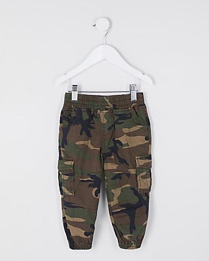 Mini boys green camo cargo trousers