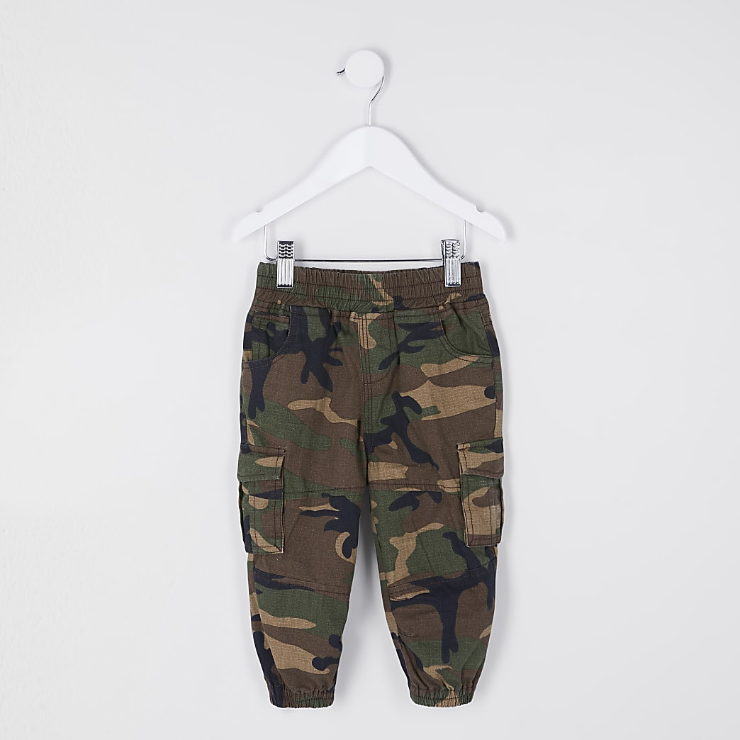 Mini boys green camo cargo trousers