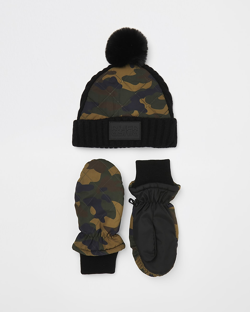 Mini boys green camo padded hat and gloves