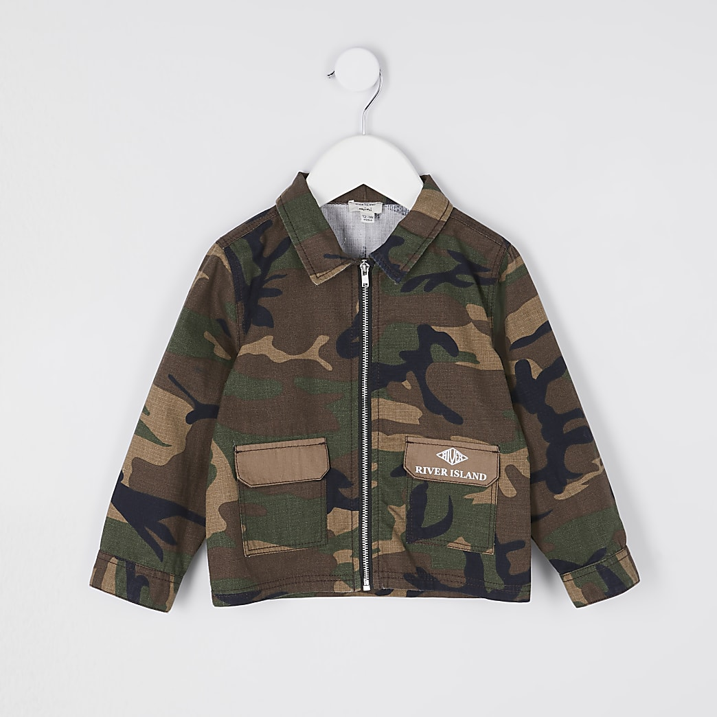 Mini boys green camo print shacket