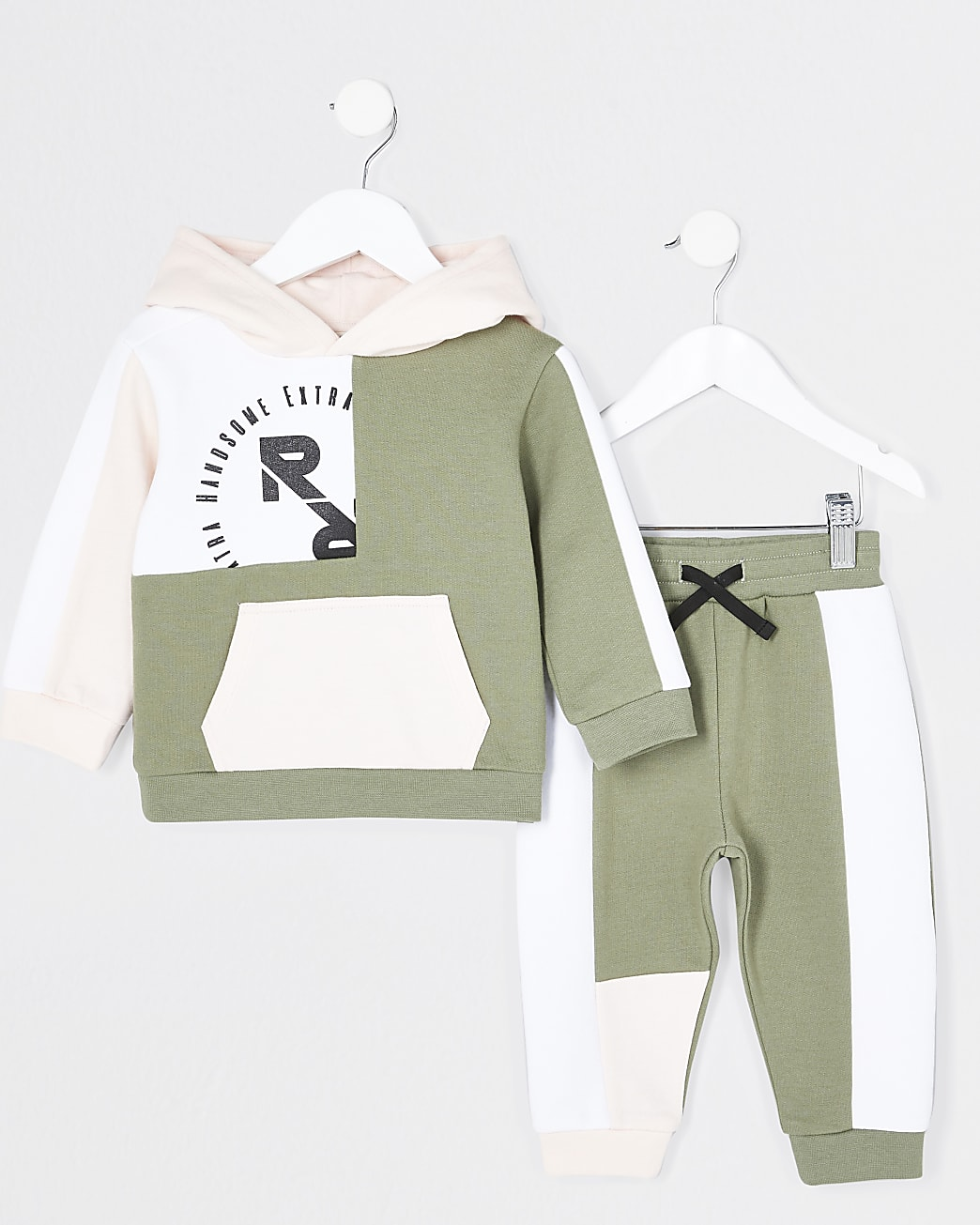 Mini boys green colour block hoodie outfit