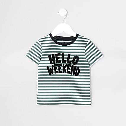Mini boys green 'hello weekend' t-shirt