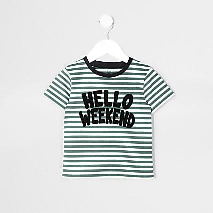 Mini boys green 'hello weekend' t-shirt
