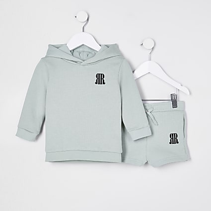 Mini boys green hoody short set