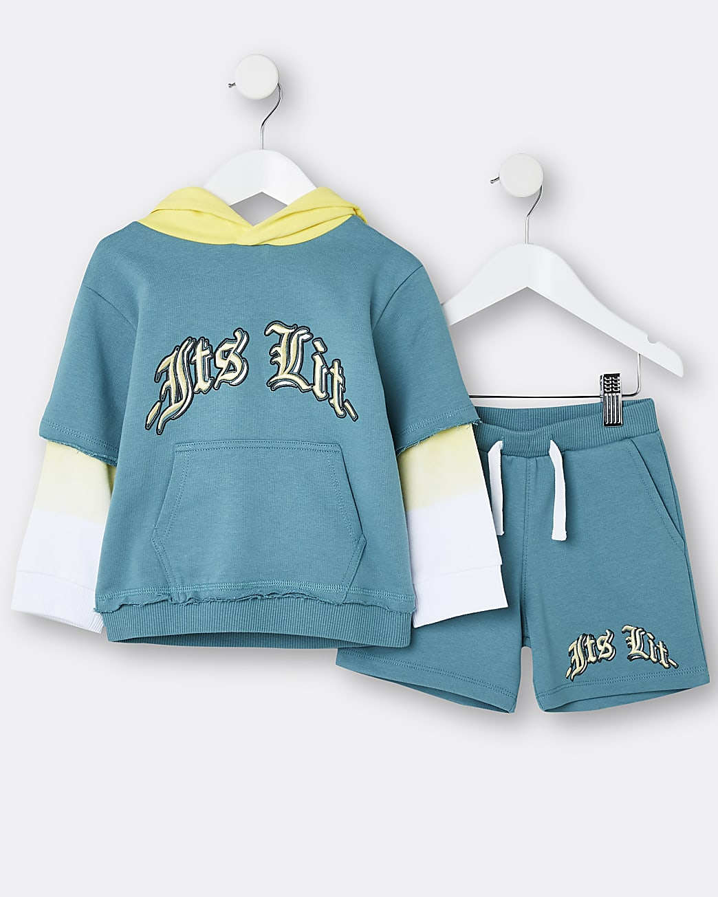 Mini boys green 'It's Lit' hoodie and shorts