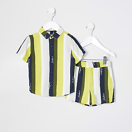 Mini boys green khaki stripe shirt set