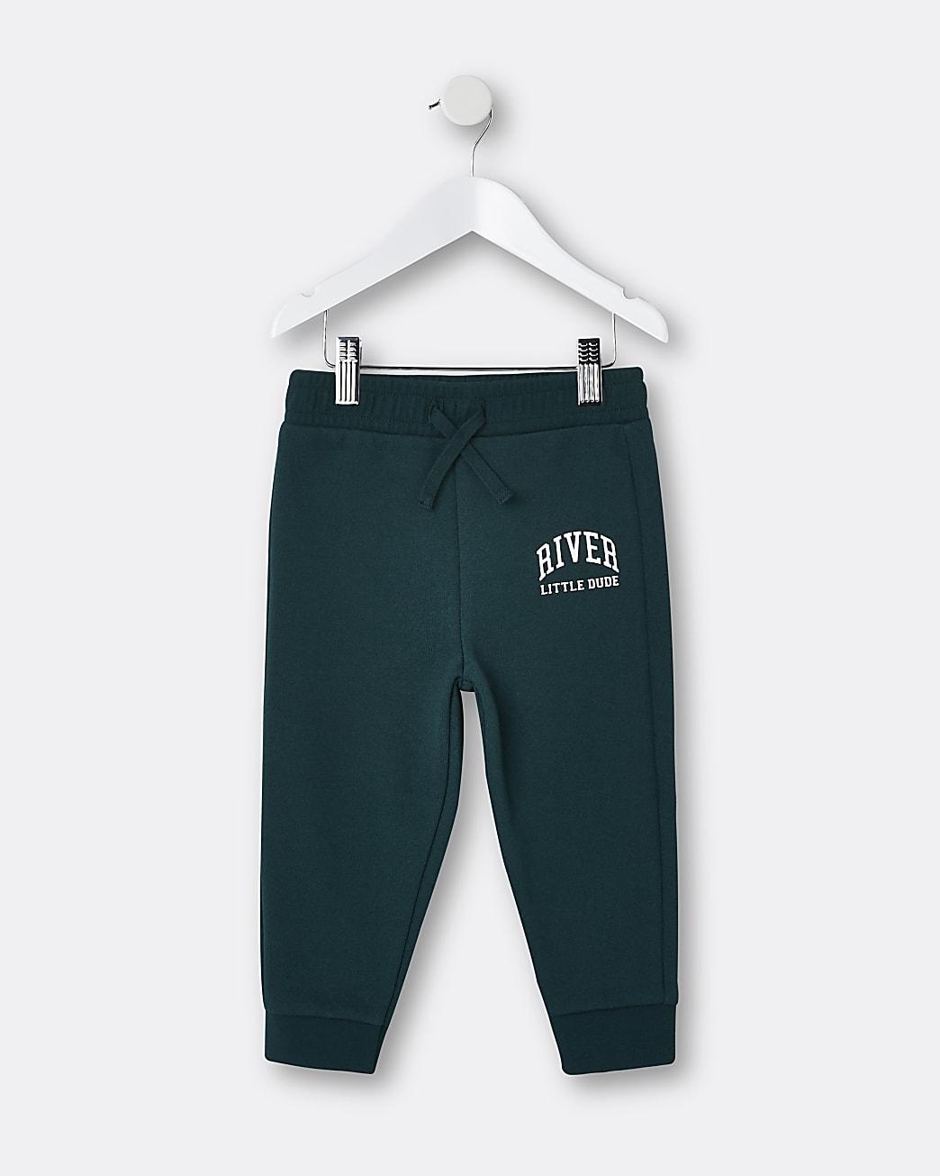 Mini boys green 'Little Dude' joggers
