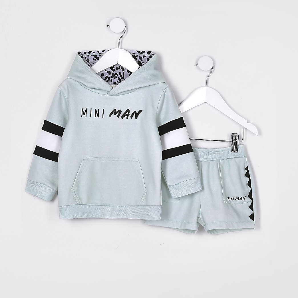 Mini boys green 'Mini Man' hoodie outfit