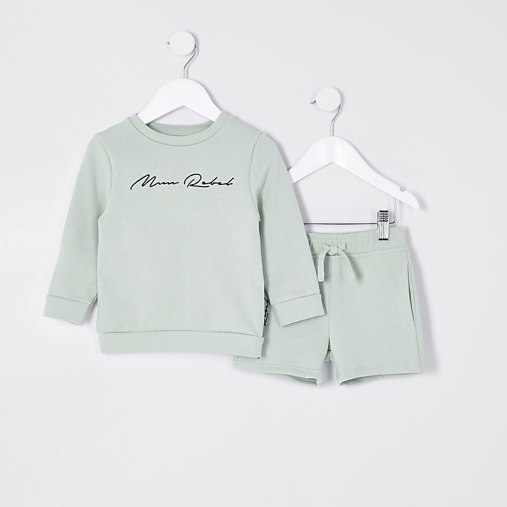 Mini boys green 'Mini Rebel' sweatshirt set