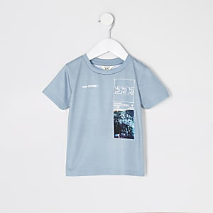 Mini - Groen T-shirt met 'Our future'-tekst en print voor jongens