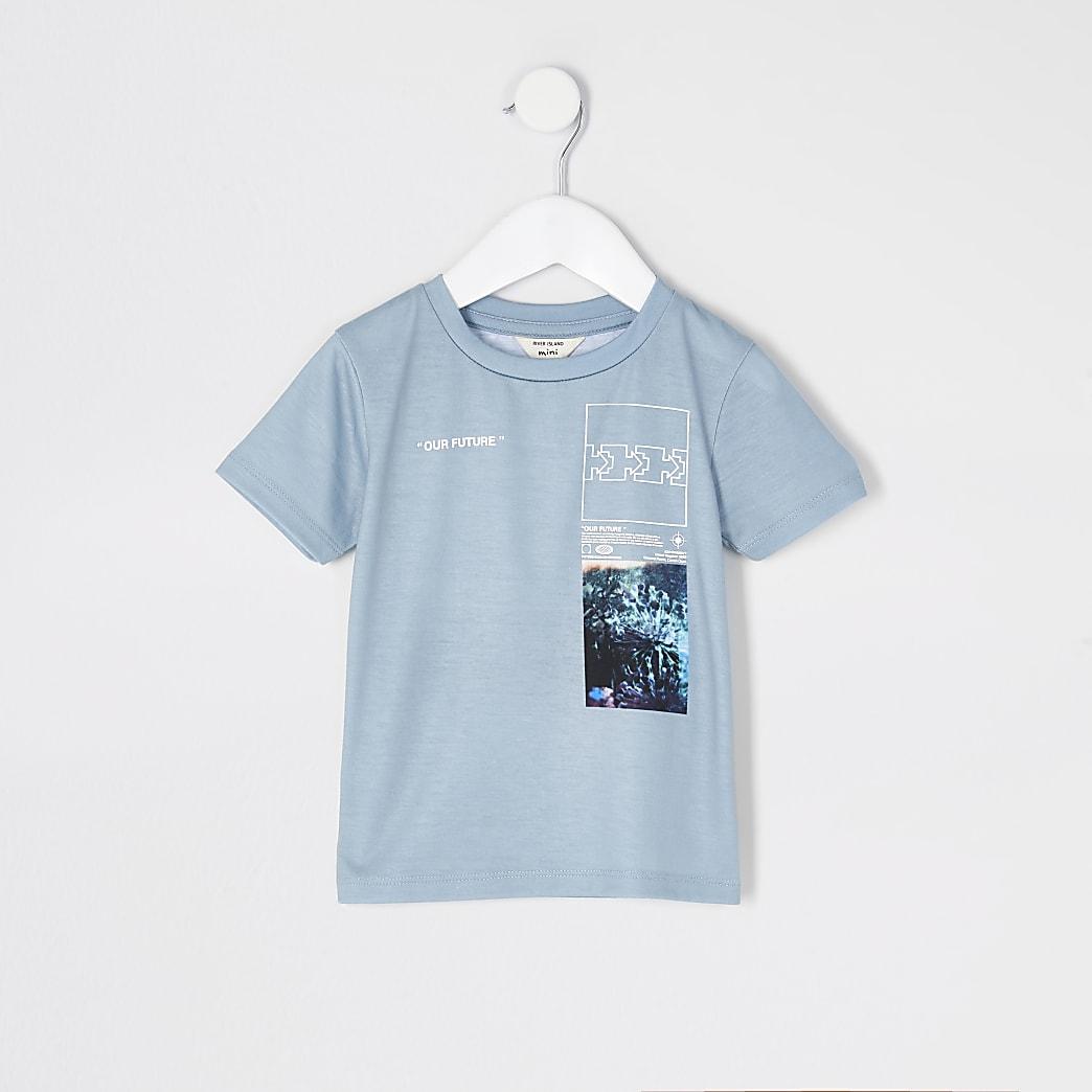 Mini boys green 'Our future' printed T-shirt