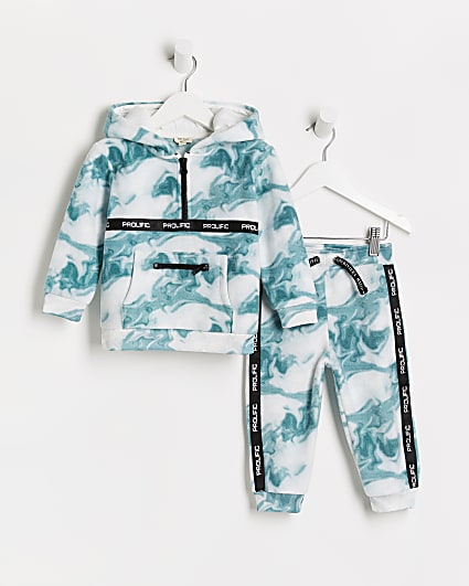Mini boys green Prolific marble hoodie outfit