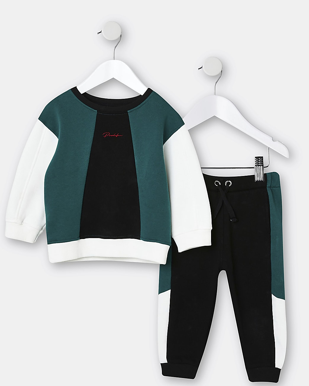 Mini boys green Prolific sweatshirt outfit