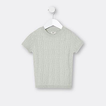 Mini boys green RI embossed t-shirt