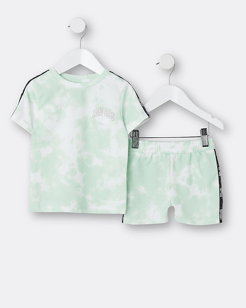 Mini boys green RI tie dye t-shirt outfit