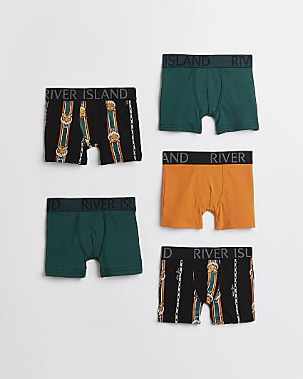 Mini boys green RI tiger boxers 5 pack