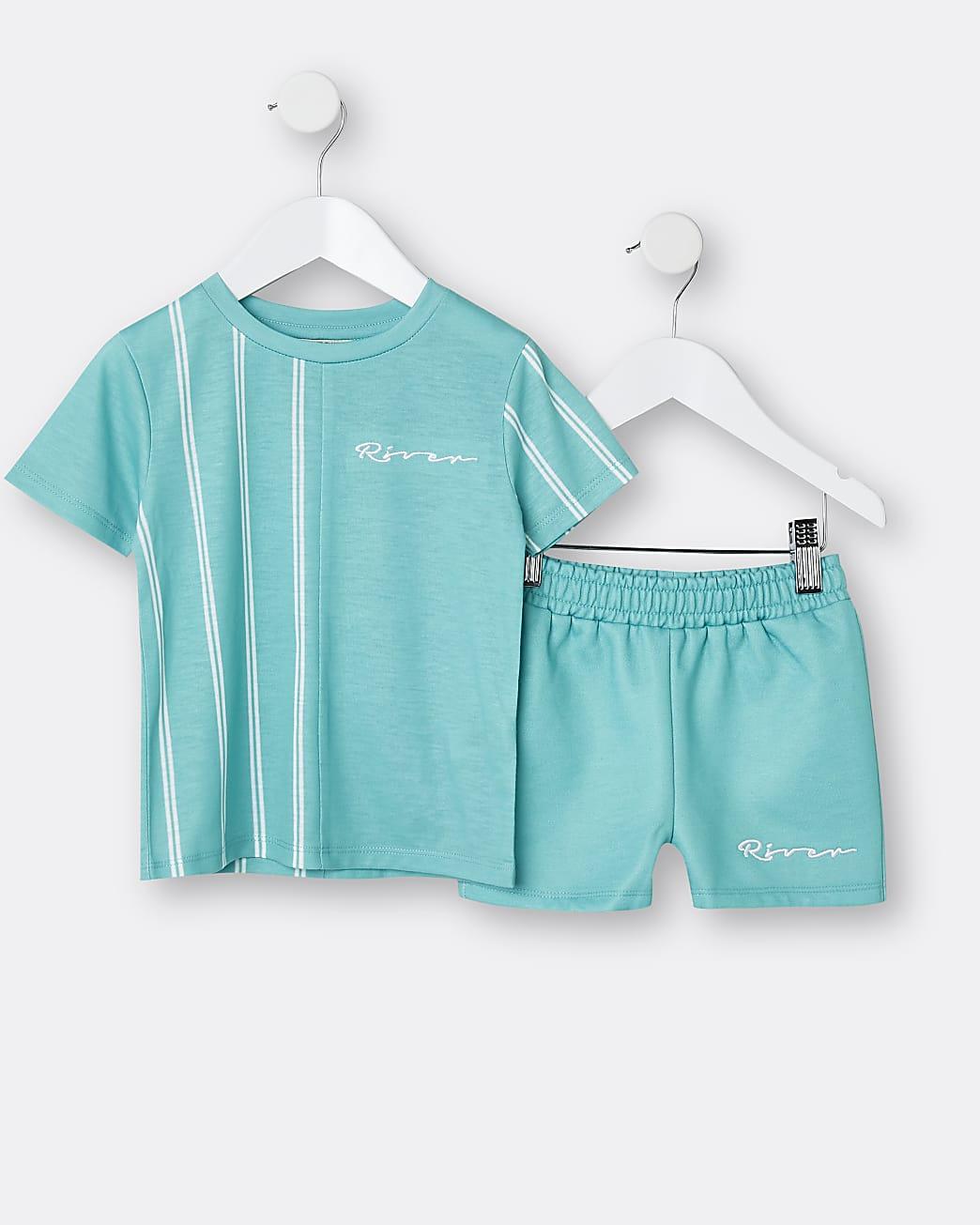 Mini boys green River stripe t-shirt outfit