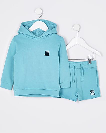 Mini boys green RR hoodie and shorts set