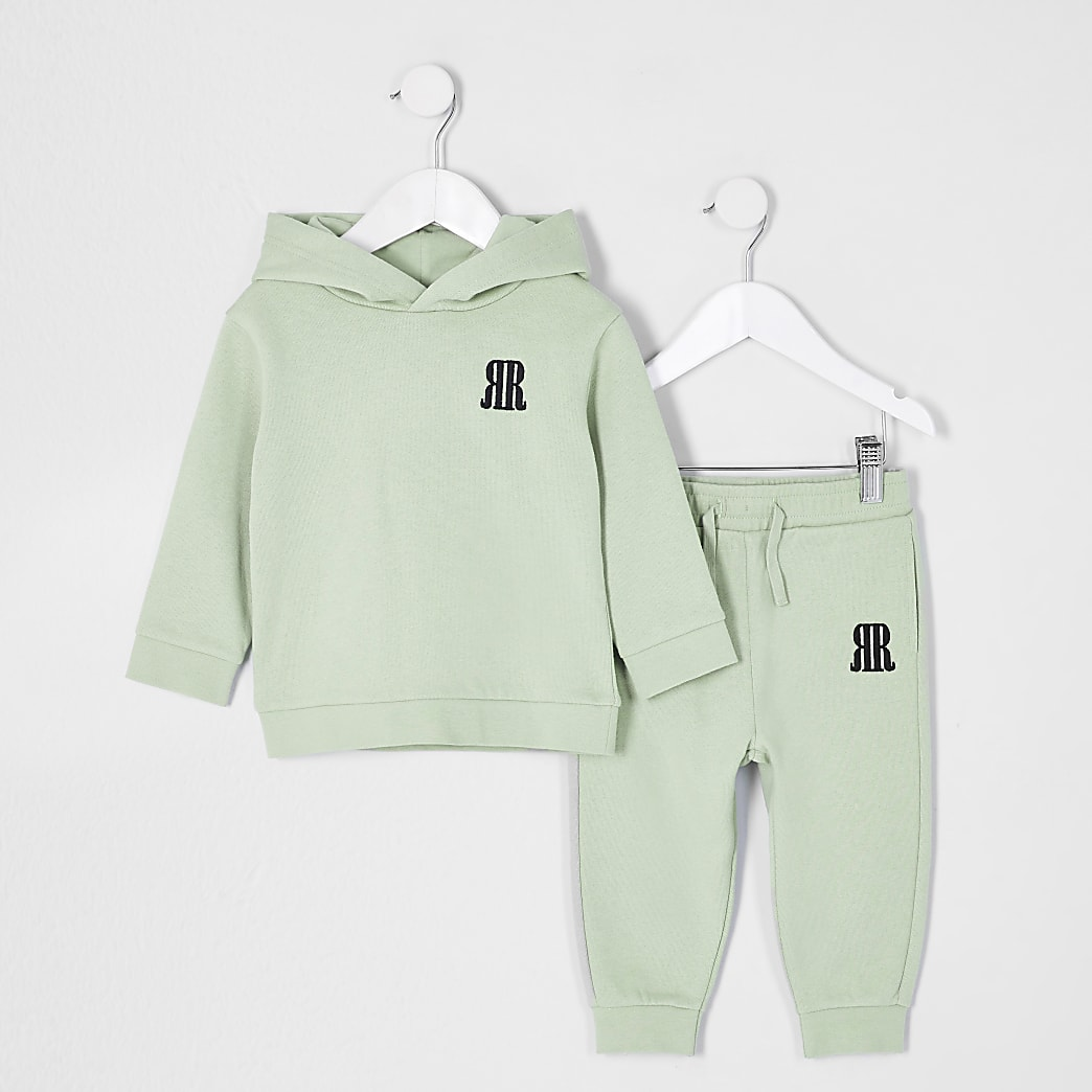 Mini boys green RR logo hoodie outfit