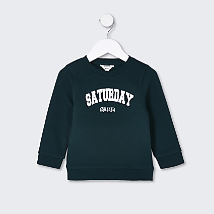 Mini boys green 'Saturday club' sweatshirt