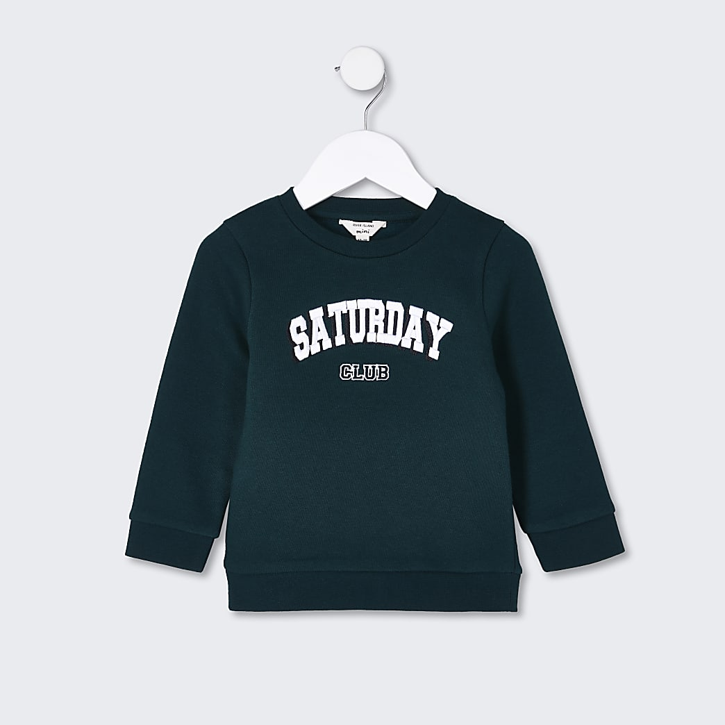 Mini boys green 'Saturday club' sweatshirt