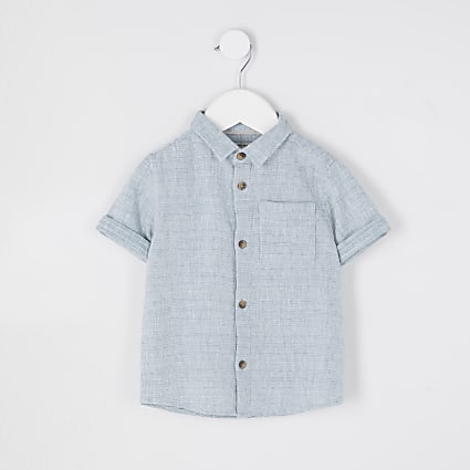 Mini boys green short sleeve textured shirt