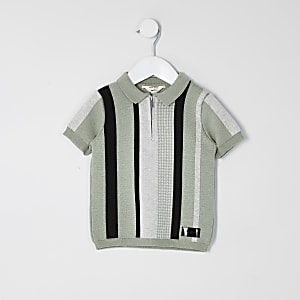 Mini boys green stripe half zip knit polo top