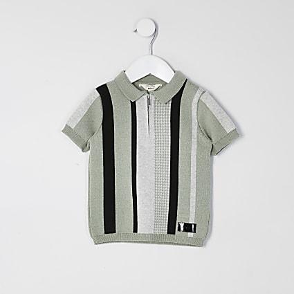 Mini boys green stripe half zip knit polo top