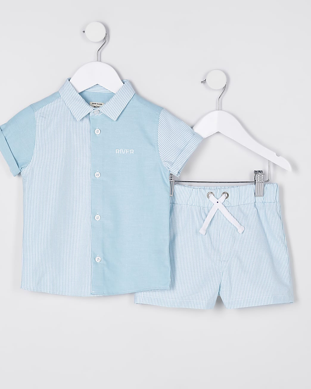 Mini boys green stripe polo shirt outfit