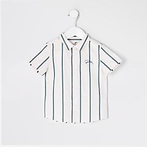 Mini - Groen gestreept overhemd met 'River'-print voor jongens