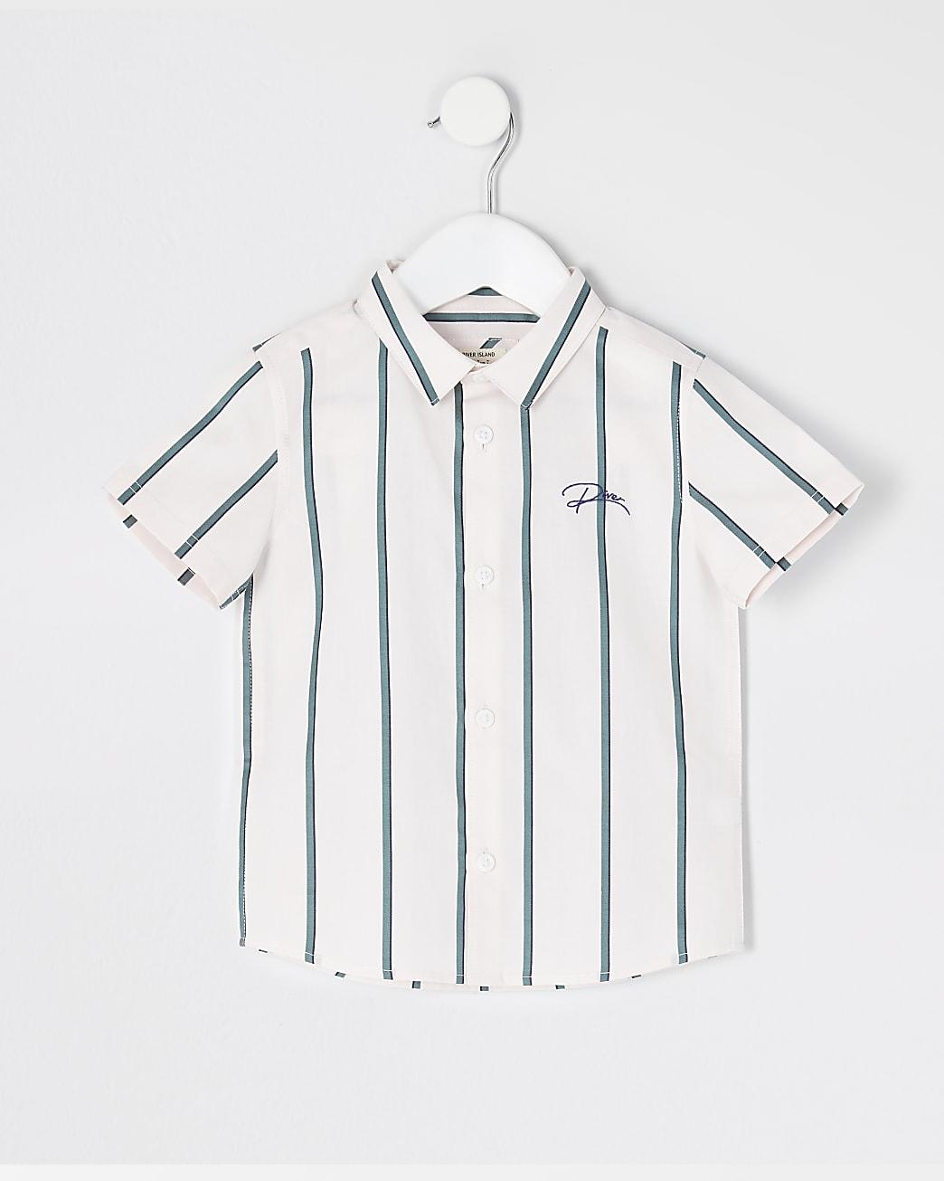 Mini boys green stripe 'River' shirt