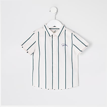 Mini boys green stripe 'River' shirt