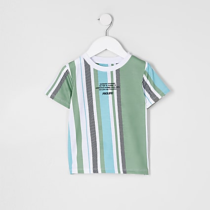 Mini boys green stripe t-shirt