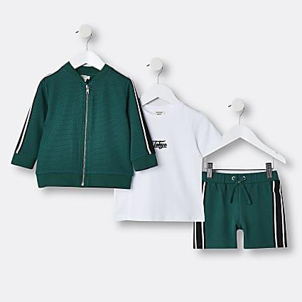 Mini boys green stripe 'Tokyo' 3 piece outfit