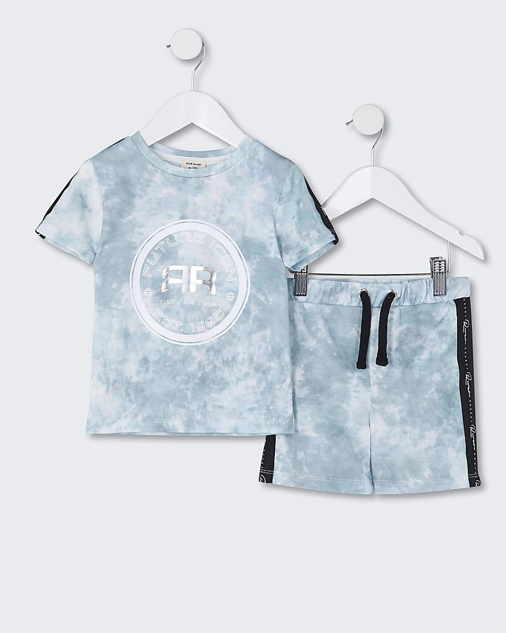 Mini boys green tie dye t-shirt and short set