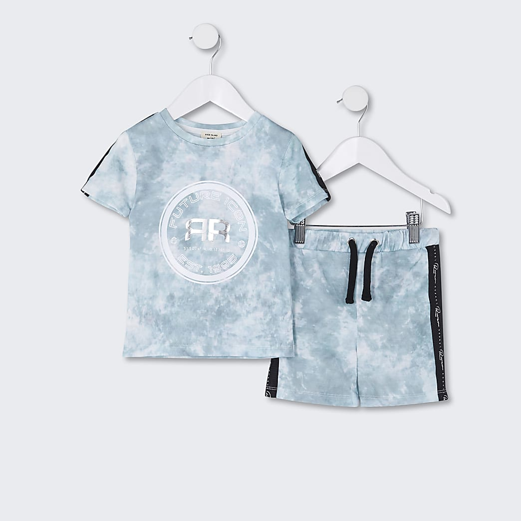 Mini boys green tie dye t-shirt and short set