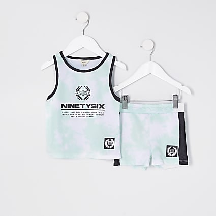 Mini boys green tie dye vest set