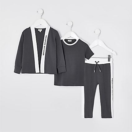 Mini boys grey 3 piece cardigan outfit