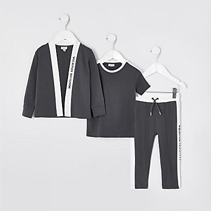 Mini boys grey 3 piece cardigan outfit