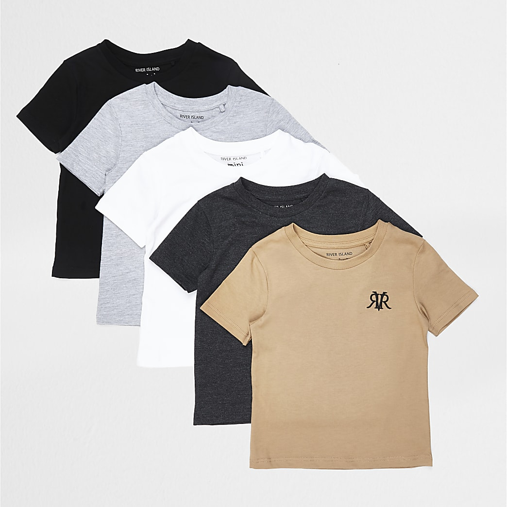 Mini boys grey 5 pack t-shirt