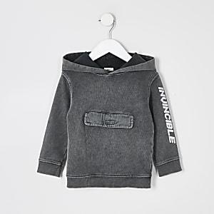 Mini boys grey acid wash 'Invincible' hoodie