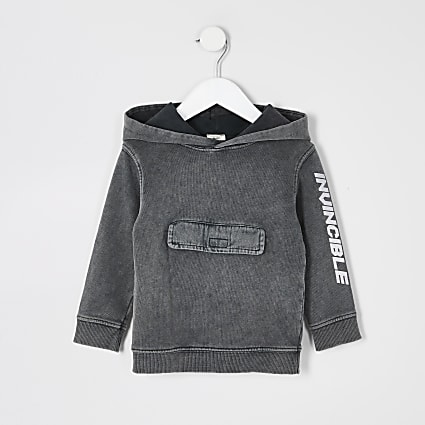 Mini boys grey acid wash 'Invincible' hoodie