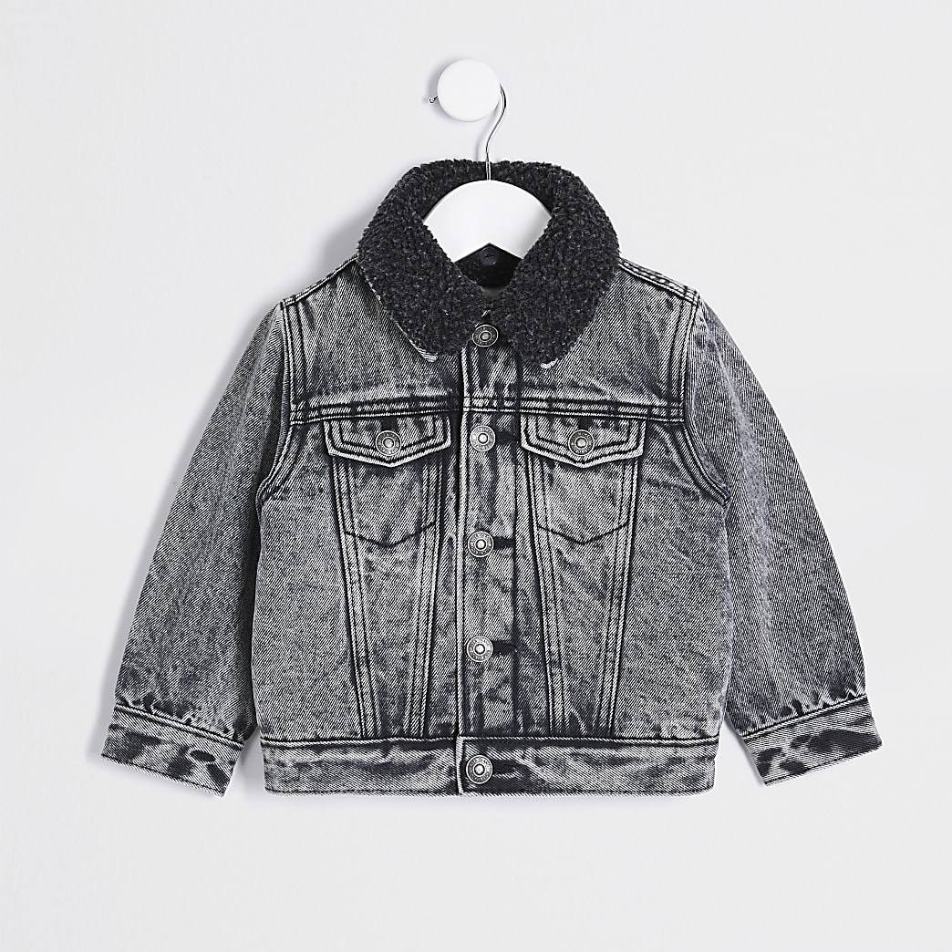 Mini boys grey acid wash jacket