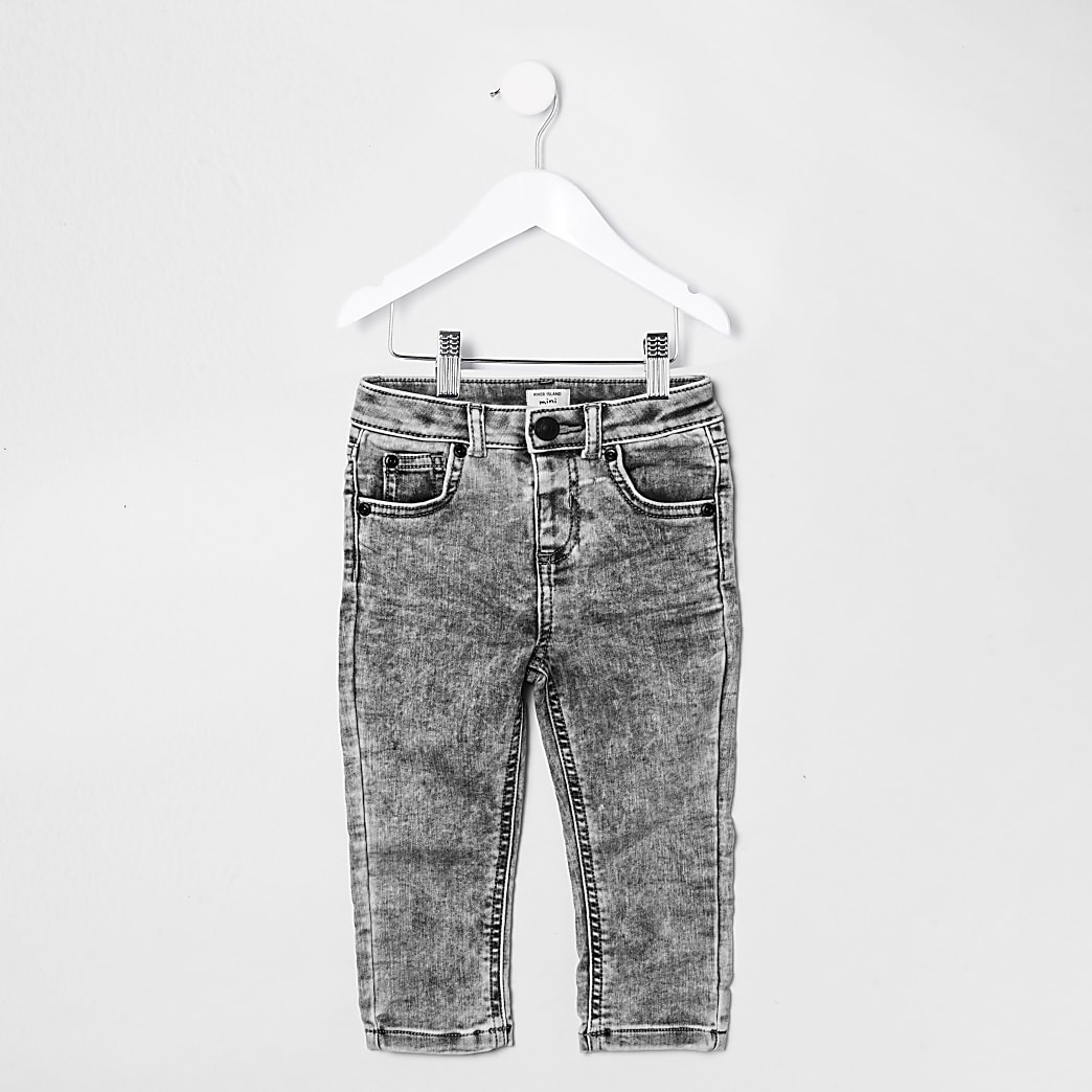 Mini boys grey acid wash Sid skinny jeans