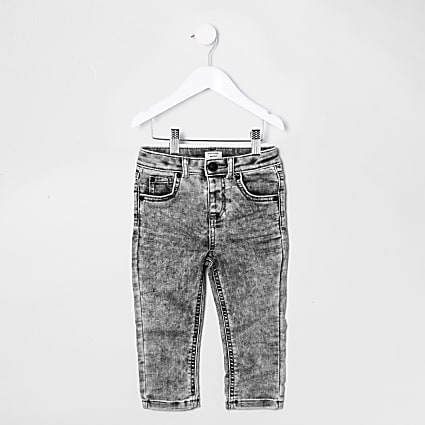 Mini boys grey acid wash skinny jeans