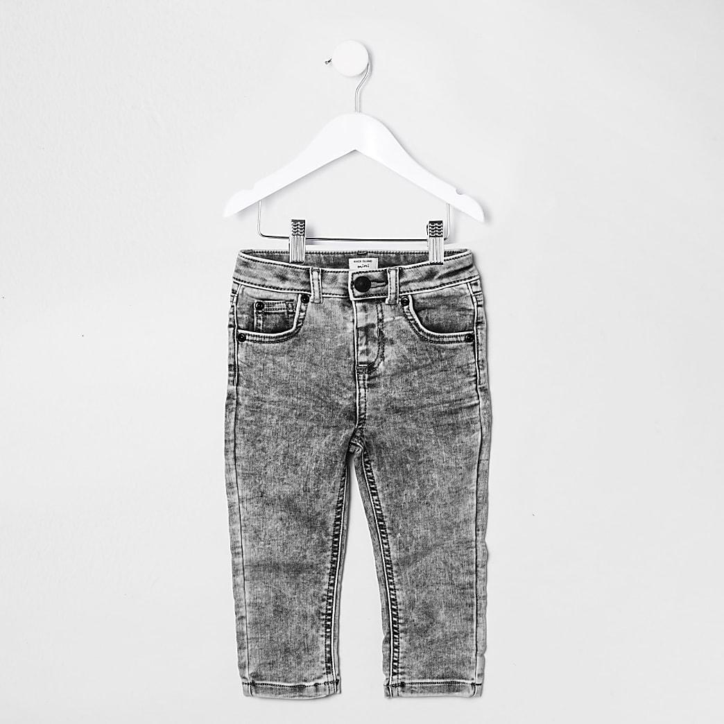 Mini boys grey acid wash skinny jeans