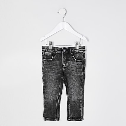 Mini boys grey acid washed Sid skinny jeans