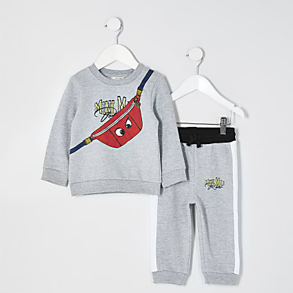Mini boys grey bag print sweat outfit