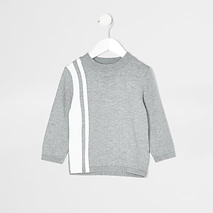 Mini boys grey blocked funnel neck jumper