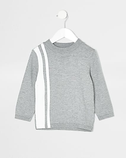 Mini boys grey blocked funnel neck jumper